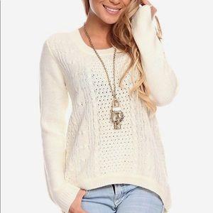 Ambiance Cream Round Neck High Low Sweater